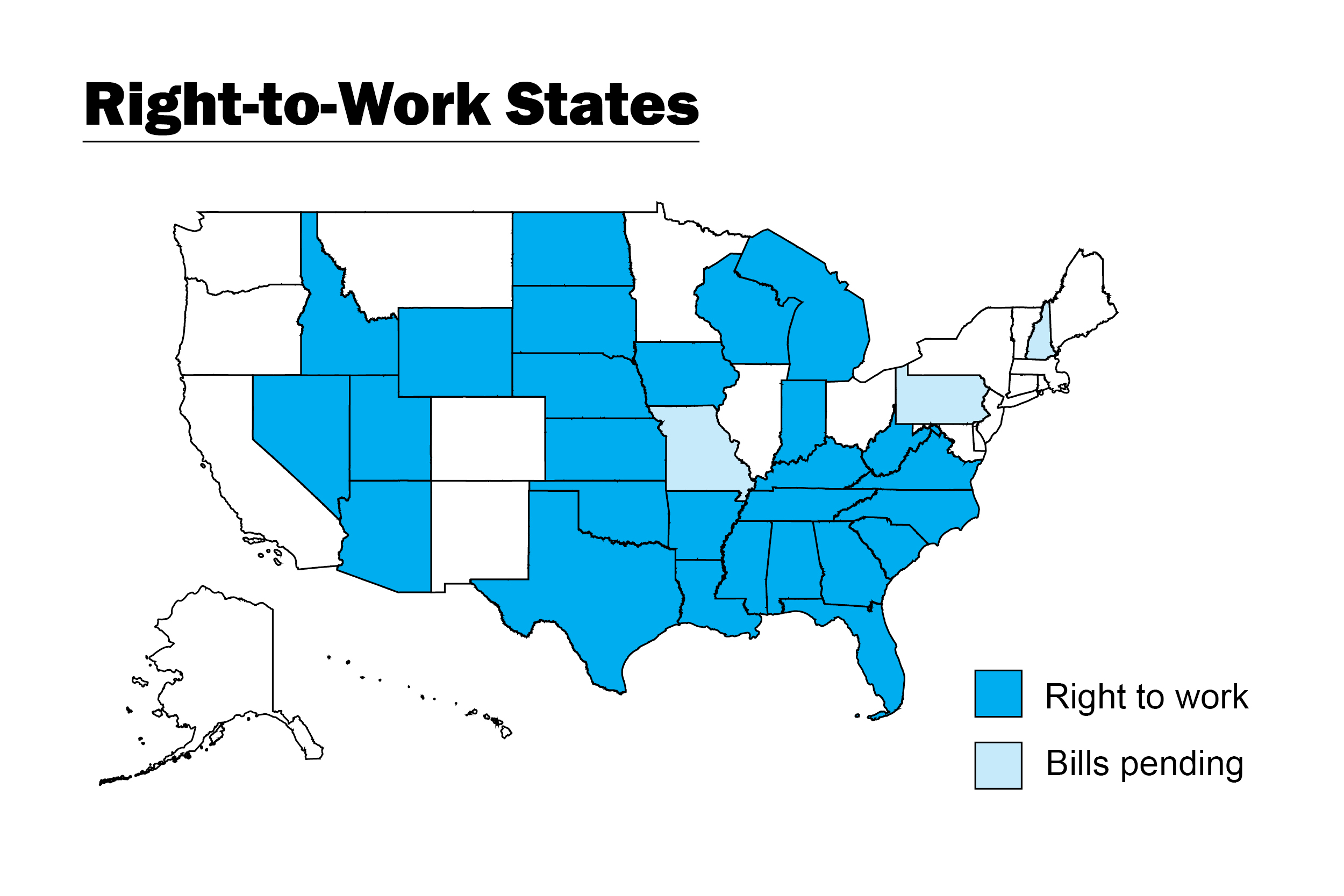 Right To Work States Vs Union States Map.Five Steps To Maintain Unity And Membership Under Right To Work
