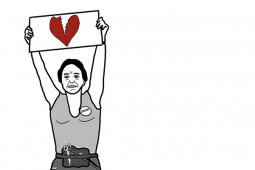 """A cartoon Norma Rae holds up a sign with a broken heart, instead of the """"Union"""" sign she holds up in the movie."""