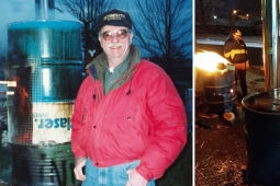 Two photos: 1.Tom with early prototype burn barrel. 2. Wabtech striker warming hands over new barrel.