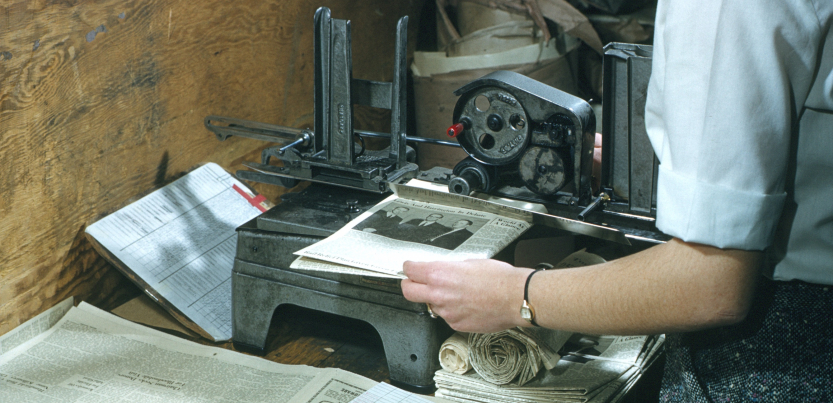 A photo of an addressograph machine