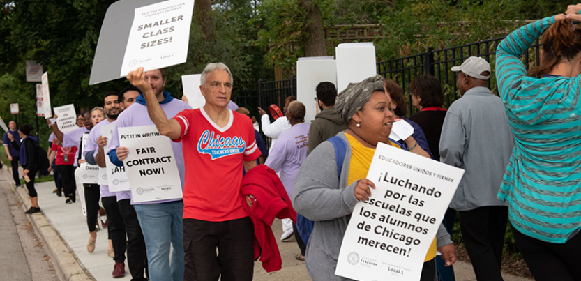 CTU picketers marching