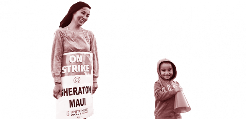 Woman and child at UNITE HERE picket lines in Hawaii.