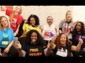"""Eight teacher leaders from the Unions We Deserve slate pose together, smiling and giving thumbs-up. T-shirt slogans include """"flree minds,"""" """"Black lives matter at school,"""" """"Baltimore schools for Baltimore students,"""" and """"build one Baltimore"""""""