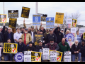 """A crowd with signs saying """"Millwrights Local 1554 support UAWVW workers,"""" """"IUPAT Local 226 supports UAWVW workers,"""" """"Solidarity,"""" """"Union Yes,"""" """"Ver.di,"""" """"UAW"""""""