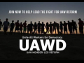 "Silhouette of a line of people holding hands with rising sun behind them. text: ""Join now to help lead the fight for UAW reform. UAWD Unite All Members for Democracy: UAW Member-Led Reform"""