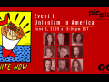 "Drawing of four fist of different skin tones emerging from a megaphone; one holds a heart wand. head shots of nine artists. text: ""Event I: Unionism in America: June 6, 2020, at 8:00 PM EST. PICplays: perform inform change."" @actorscirclensemble [with social media logos]"