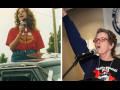 Left: Anne stands in back of a pickup truck holding a mic. Right: Anne stands at a mic, fist in the air, in front of Labor Notes banner.