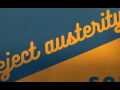 """reject austerity"" in cursive"
