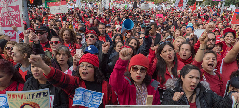 Crowd of UTLA teachers on strike in January 2019