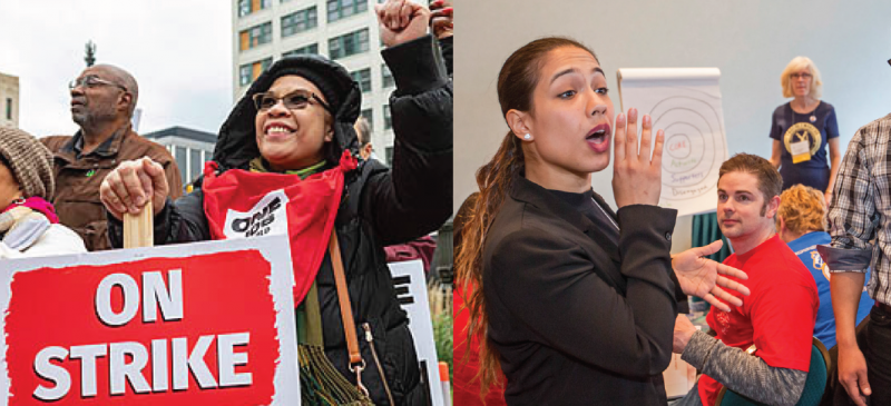 "Left half: woman with ""on strike"" sign; right half: woman leading workshop"