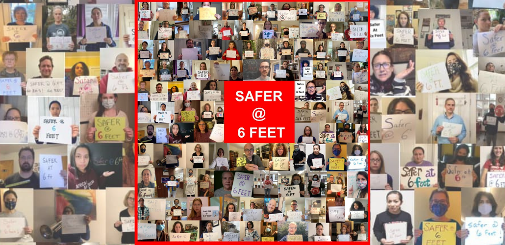 "A collage of individual photos of teachers holding signs that say ""Safer at six feet."""