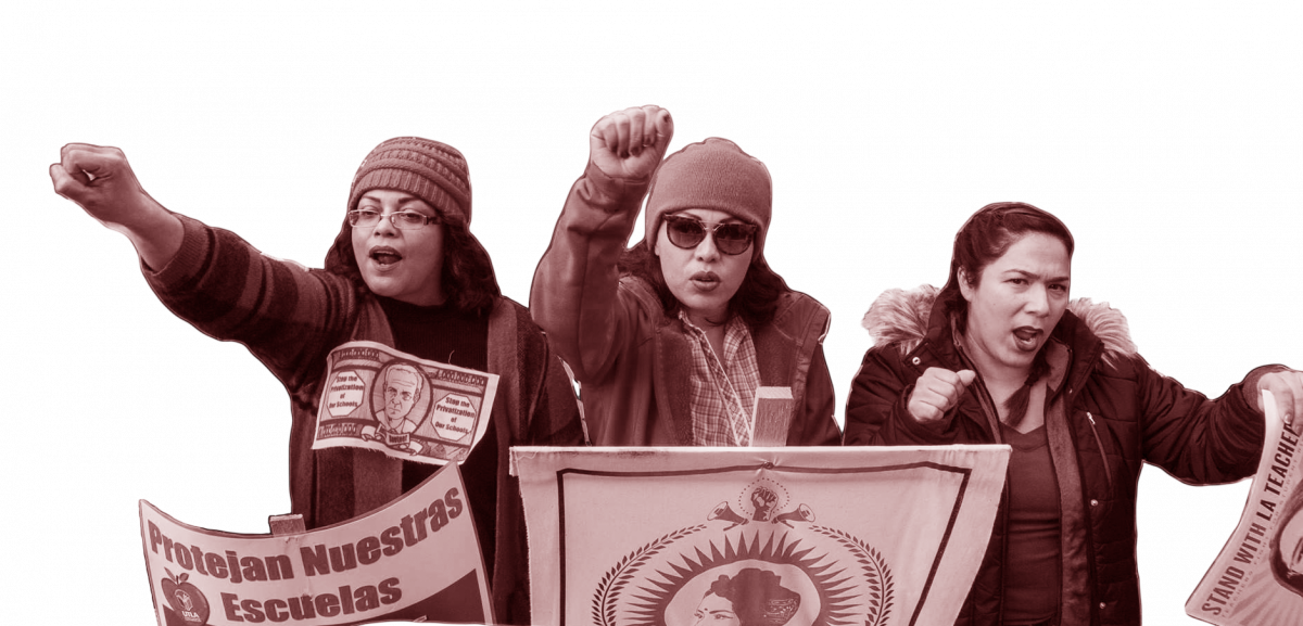 Three UTLA strikers demonstrating, January 2019.
