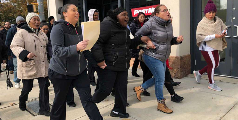 Stamford Sheraton hotel workers march on the boss.