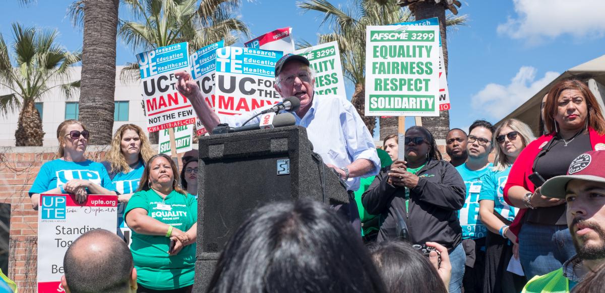 Bernie Sanders addressing a UPTE picket line in 2019.