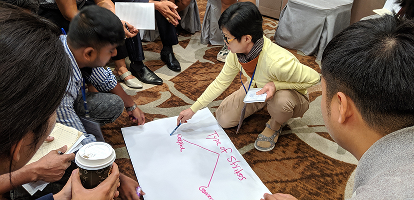 Workshop participants at the Labor Notes Asia Regional Conference discussing and writing about strikes.