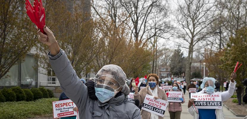 Nurses marching at Jacobi Medical Center