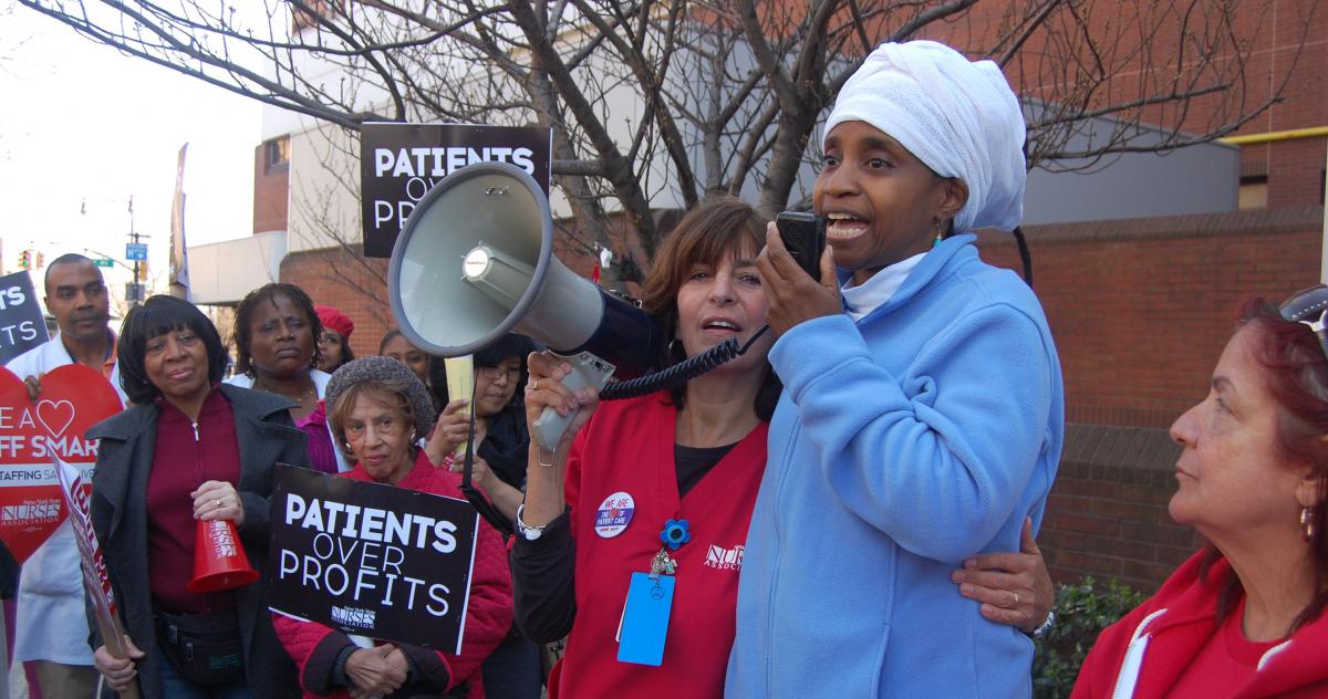 Nurses picketing.