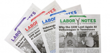 Covers of four issues of Labor Notes from 2019